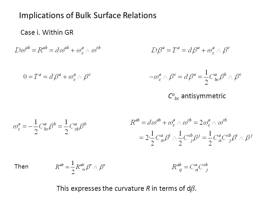 Implications of Bulk Surface Relations Then This expresses the curvature R in terms of d.