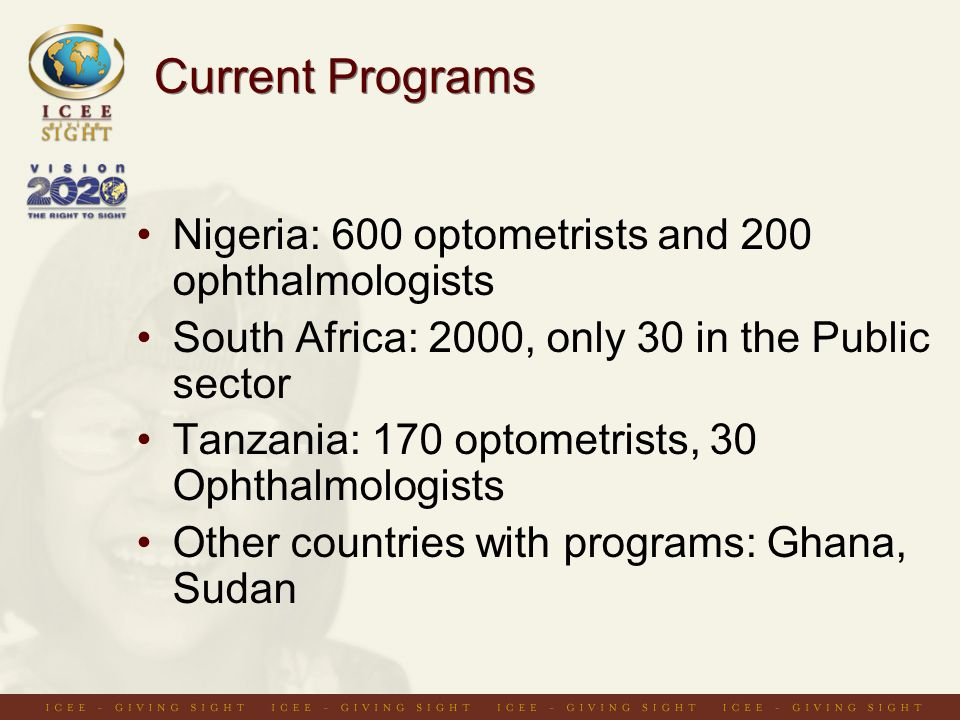 Current Programs Nigeria: 600 optometrists and 200 ophthalmologists South Africa: 2000, only 30 in the Public sector Tanzania: 170 optometrists, 30 Ophthalmologists Other countries with programs: Ghana, Sudan