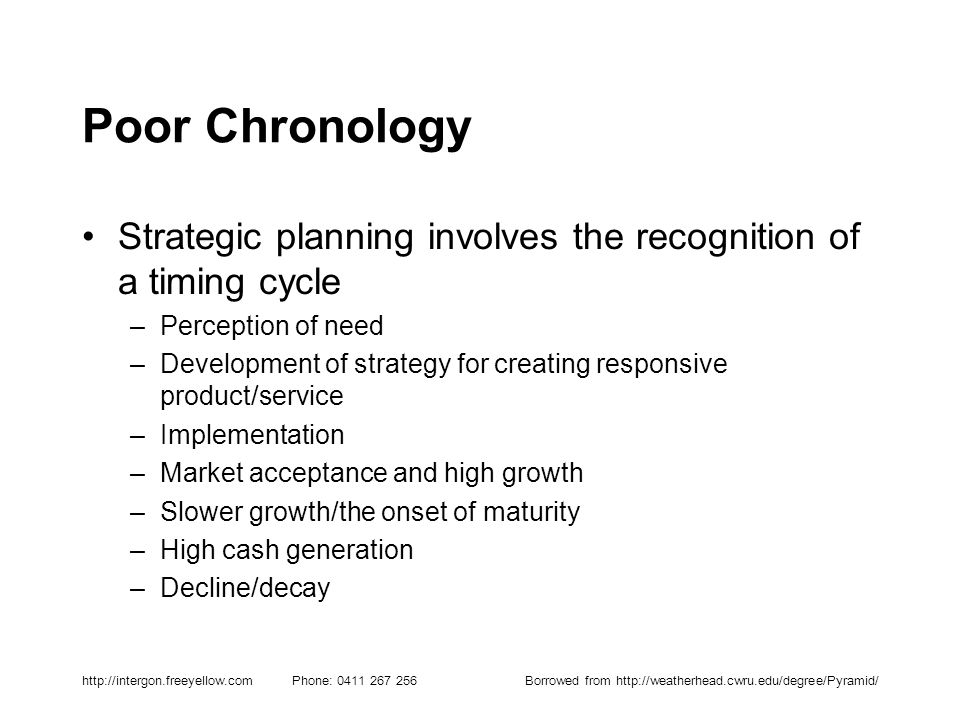 http://intergon.freeyellow.com Phone: 0411 267 256Borrowed from http://weatherhead.cwru.edu/degree/Pyramid/ Poor Chronology Strategic planning involve