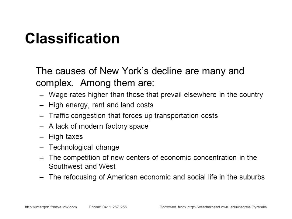 http://intergon.freeyellow.com Phone: 0411 267 256Borrowed from http://weatherhead.cwru.edu/degree/Pyramid/ Classification The causes of New Yorks dec