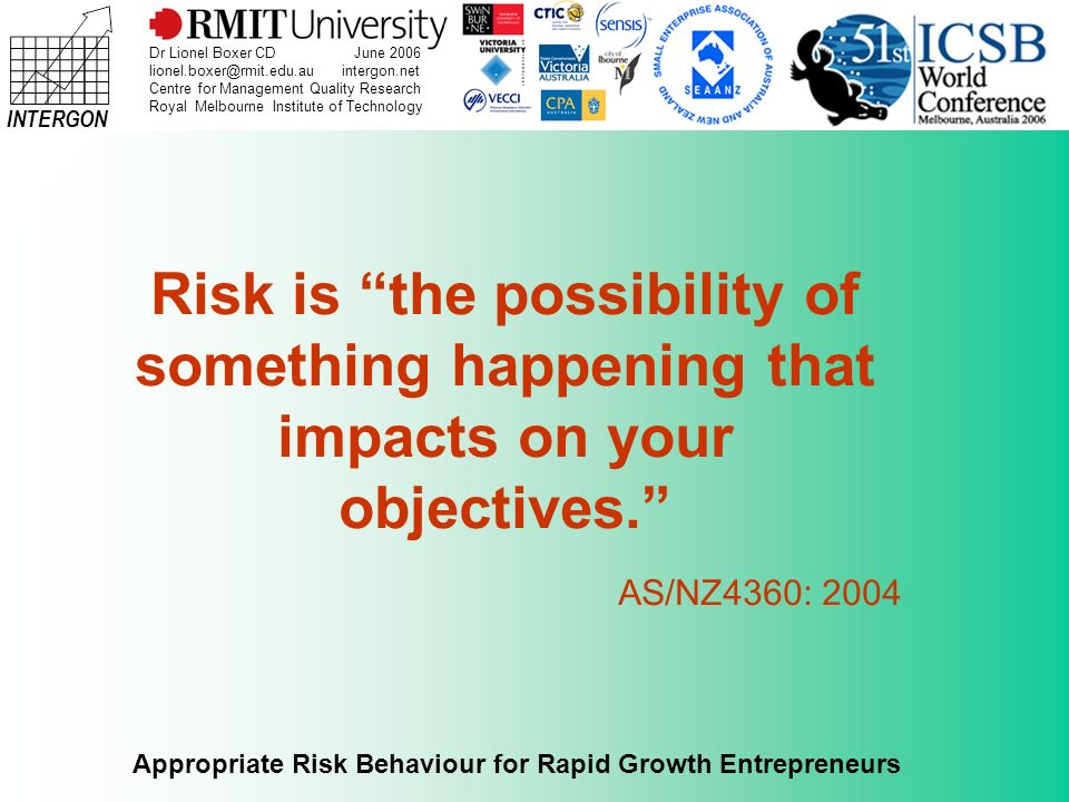 INTERGON Appropriate Risk Behaviour for Rapid Growth Entrepreneurs Dr Lionel Boxer CD June 2006 lionel.boxer@rmit.edu.au intergon.net Centre for Management Quality Research Royal Melbourne Institute of Technology Challenge of managing risk in a rapid growth small and medium enterprise (RG-SME).