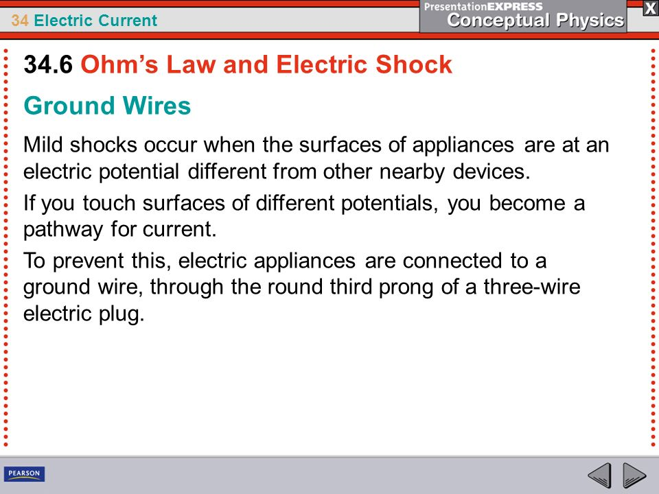 34 Electric Current Ground Wires Mild shocks occur when the surfaces of appliances are at an electric potential different from other nearby devices. I