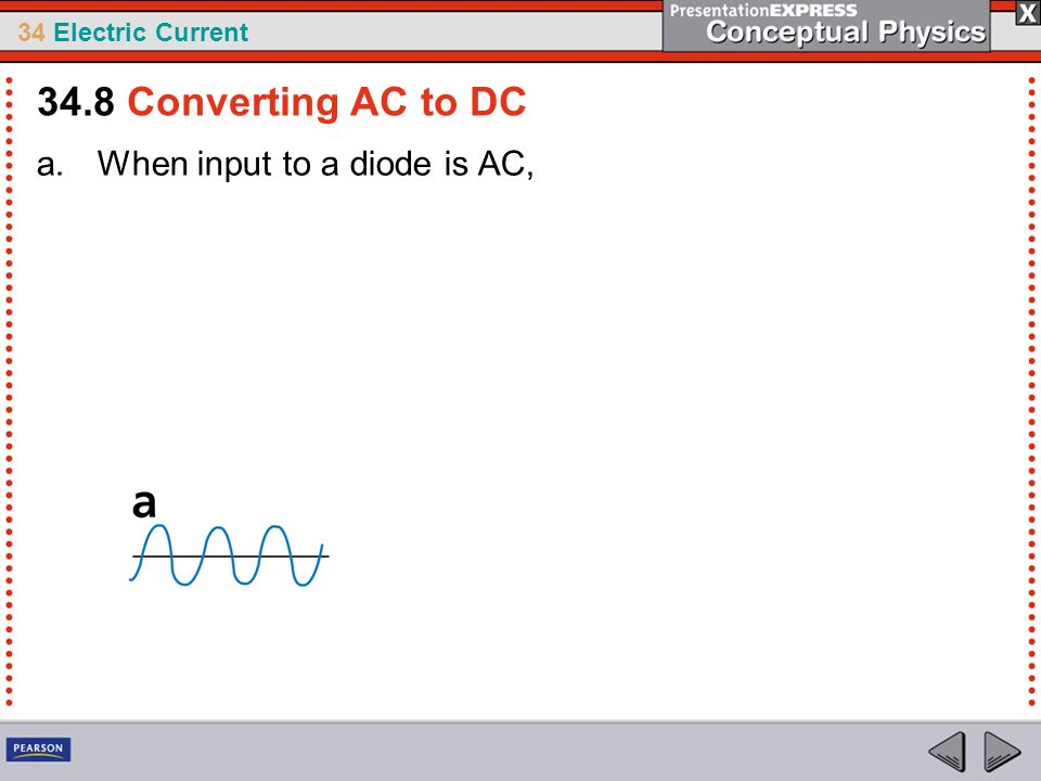 34 Electric Current a.When input to a diode is AC, 34.8 Converting AC to DC