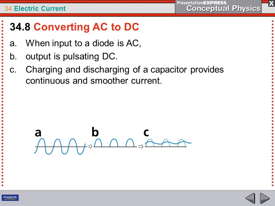 34 Electric Current a.When input to a diode is AC, b.output is pulsating DC. c.Charging and discharging of a capacitor provides continuous and smoothe