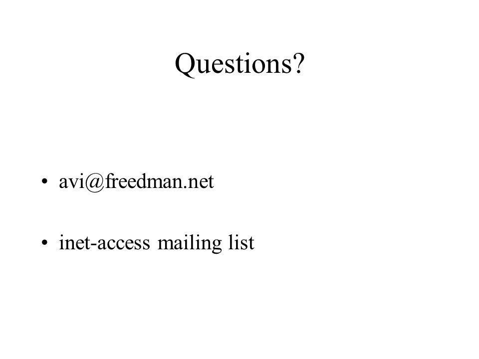 Questions inet-access mailing list