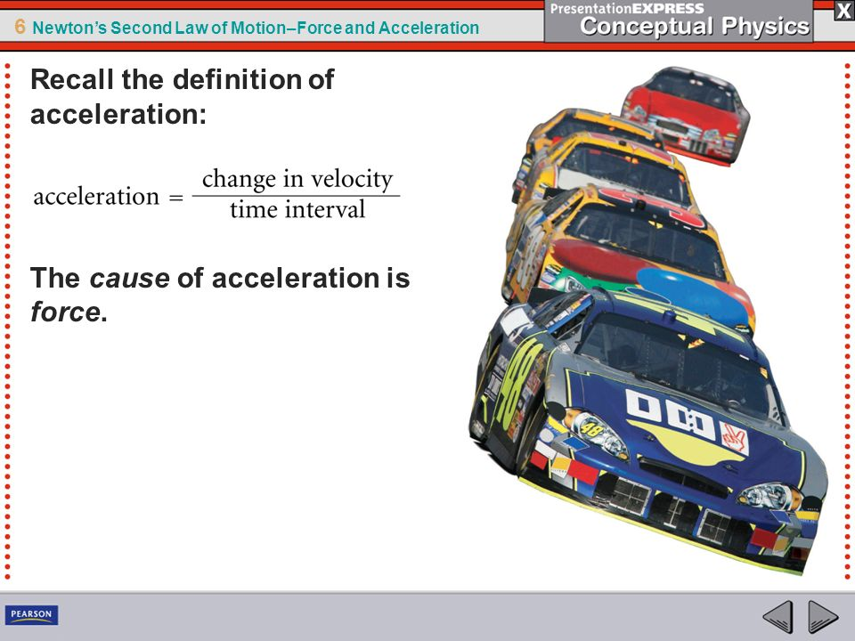 6 Newtons Second Law of Motion–Force and Acceleration Unbalanced forces acting on an object cause the object to accelerate.