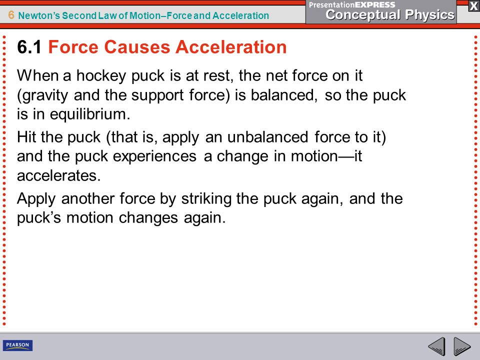 6 Newtons Second Law of Motion–Force and Acceleration Recall from the previous chapter that the combination of forces acting on an object is the net force.