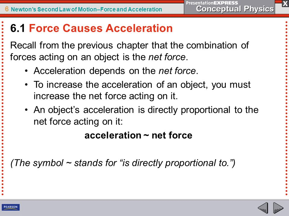 6 Newtons Second Law of Motion–Force and Acceleration Galileo showed that falling objects accelerate equally, regardless of their masses.