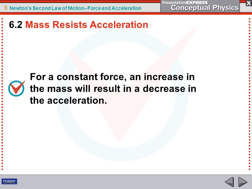 6 Newtons Second Law of Motion–Force and Acceleration 4.Friction is a force like any other force and affects motion.