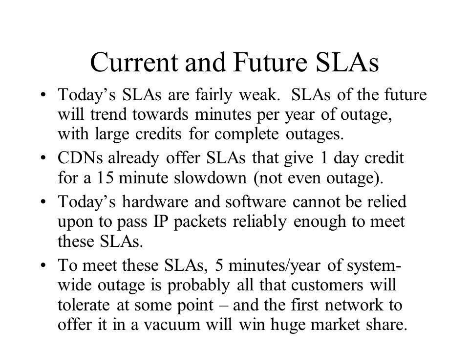 Current and Future SLAs Todays SLAs are fairly weak.