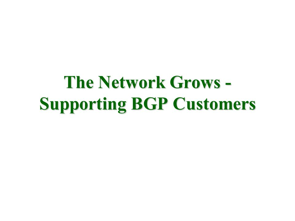 The Network Grows - Supporting BGP Customers