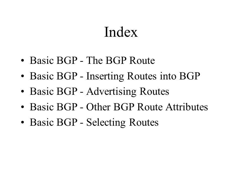 Index Basic BGP - The BGP Route Basic BGP - Inserting Routes into BGP Basic BGP - Advertising Routes Basic BGP - Other BGP Route Attributes Basic BGP - Selecting Routes