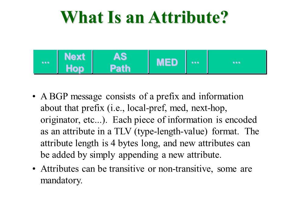 What Is an Attribute? A BGP message consists of a prefix and information about that prefix (i.e., local-pref, med, next-hop, originator, etc...). Each