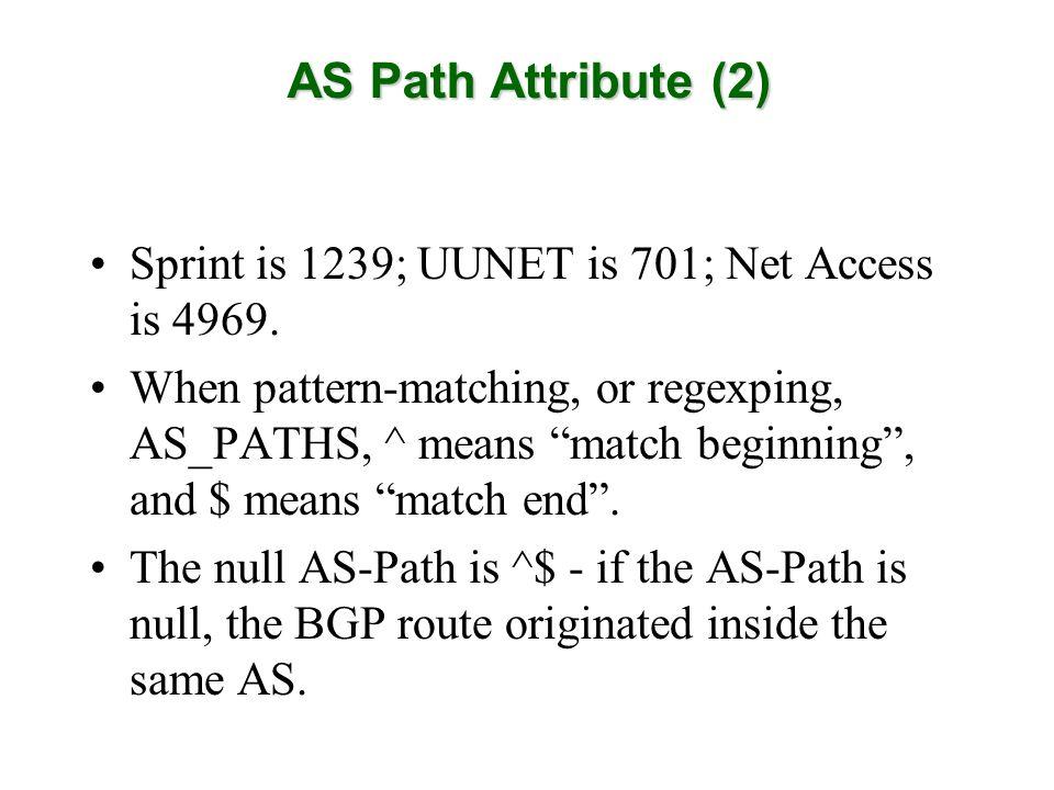 Sprint is 1239; UUNET is 701; Net Access is 4969.