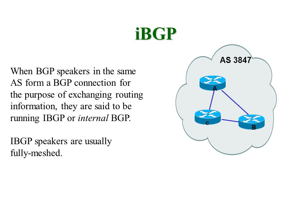 iBGP AS 3847 When BGP speakers in the same AS form a BGP connection for the purpose of exchanging routing information, they are said to be running IBGP or internal BGP.