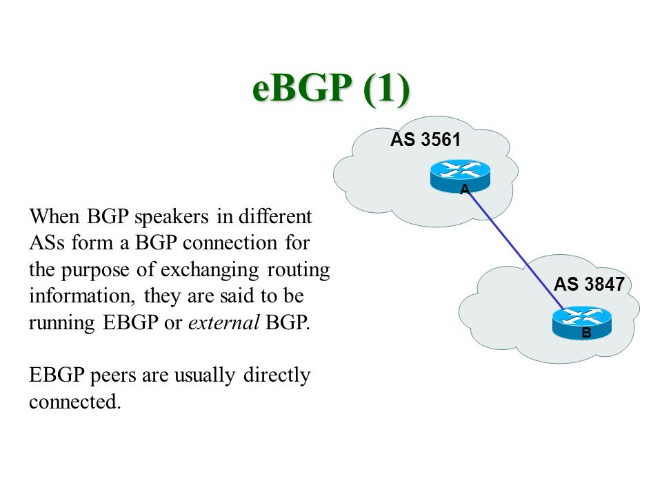 eBGP (1) AS 3561 AS 3847 When BGP speakers in different ASs form a BGP connection for the purpose of exchanging routing information, they are said to be running EBGP or external BGP.