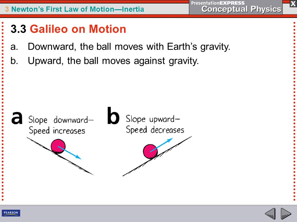 3 Newtons First Law of MotionInertia a.Downward, the ball moves with Earths gravity. b.Upward, the ball moves against gravity. 3.3 Galileo on Motion