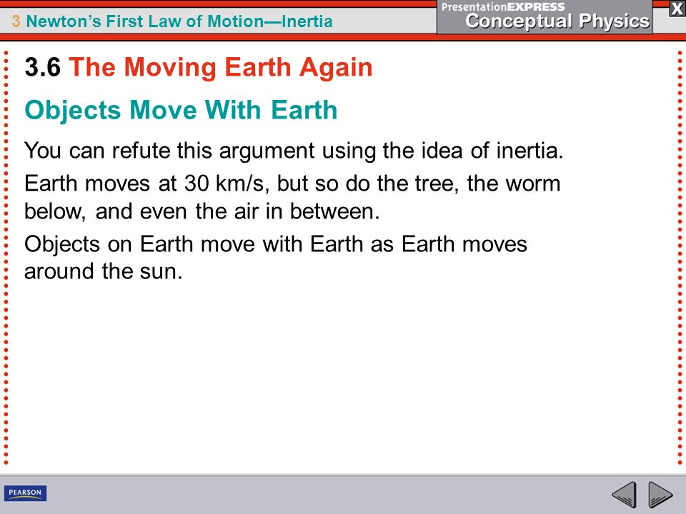 3 Newtons First Law of MotionInertia Objects Move With Earth You can refute this argument using the idea of inertia. Earth moves at 30 km/s, but so do