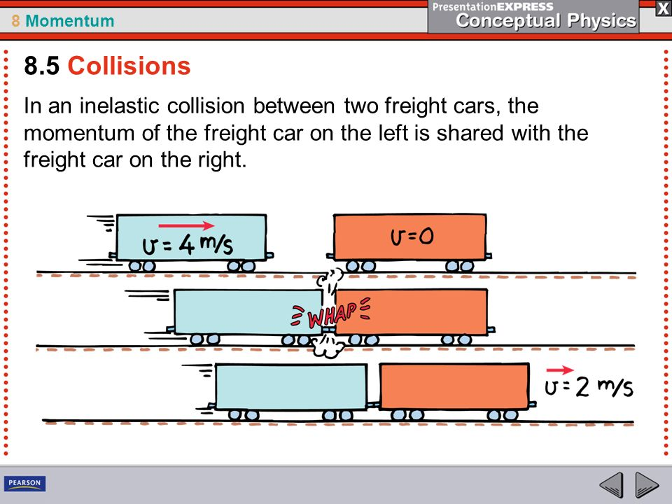8 Momentum In an inelastic collision between two freight cars, the momentum of the freight car on the left is shared with the freight car on the right.