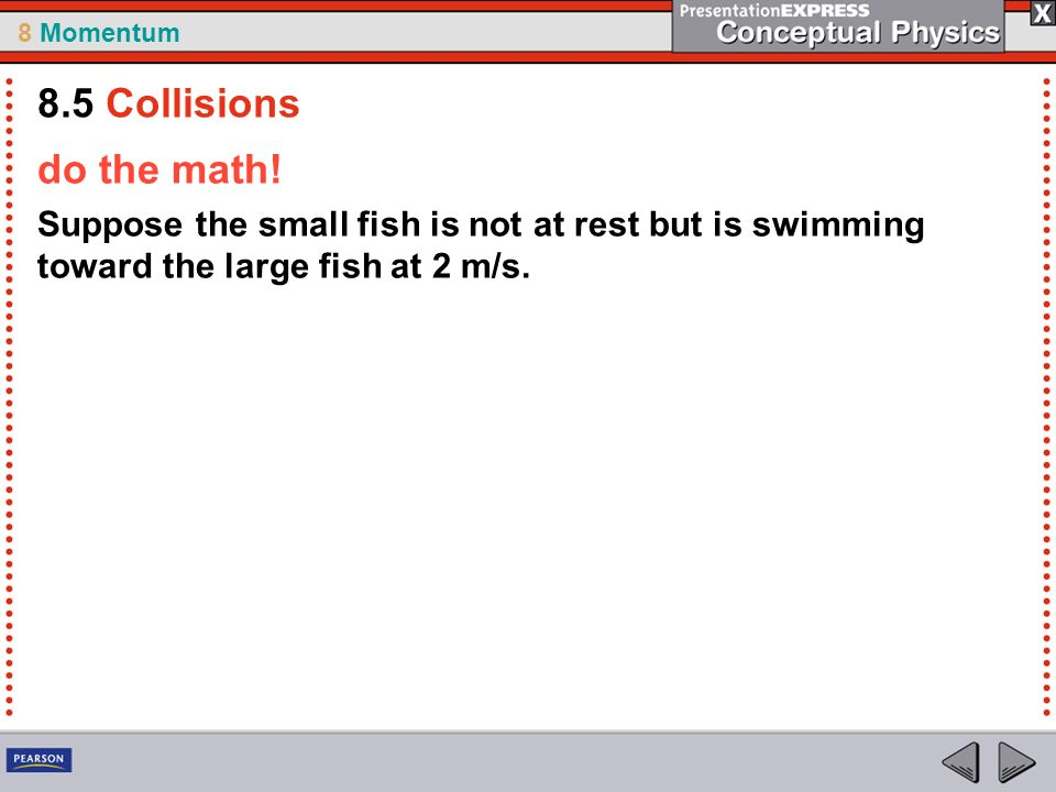 8 Momentum do the math! Suppose the small fish is not at rest but is swimming toward the large fish at 2 m/s. 8.5 Collisions