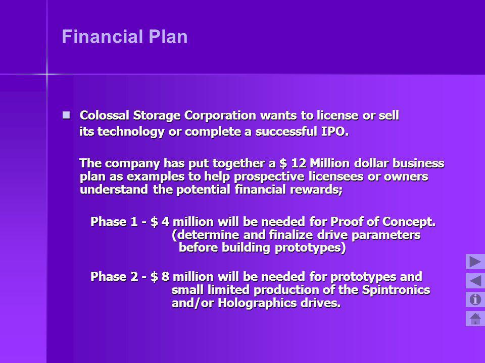 Financial Plan Colossal Storage Corporation wants to license or sell Colossal Storage Corporation wants to license or sell its technology or complete