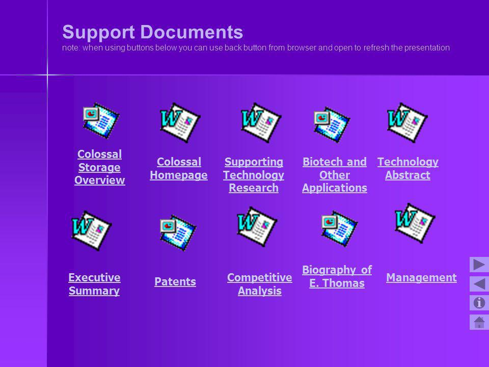 Support Documents note: when using buttons below you can use back button from browser and open to refresh the presentation Executive Summary Colossal