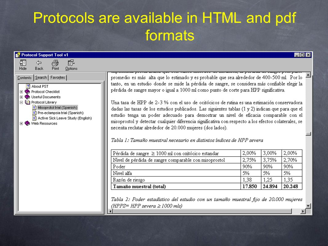 Protocols are available in HTML and pdf formats