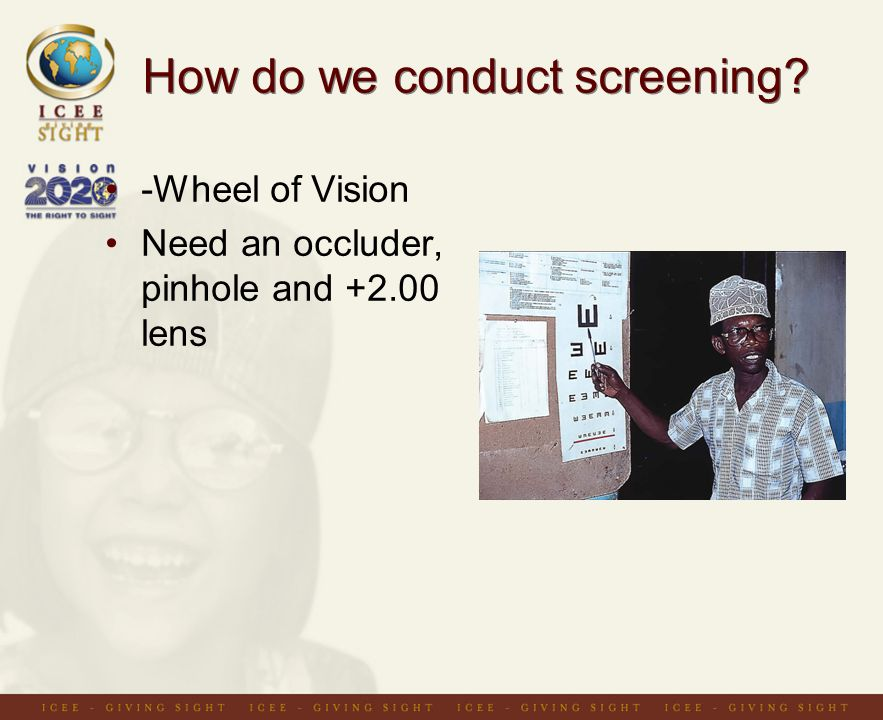 How do we conduct screening -Wheel of Vision Need an occluder, pinhole and lens