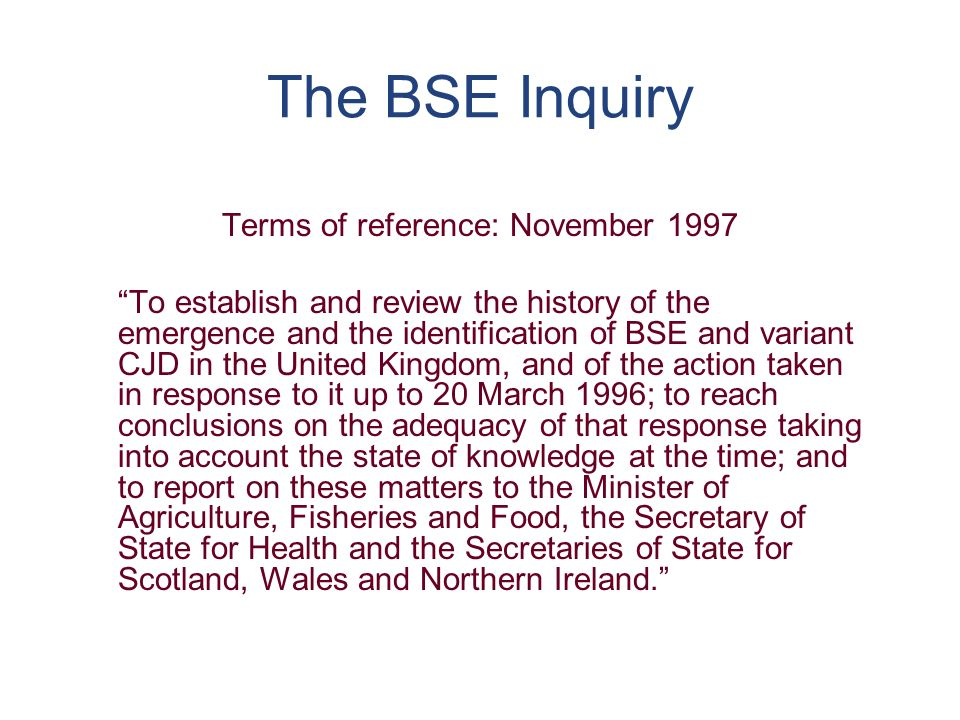 (e) The Governments response to the BSE Inquiry Report (cont)