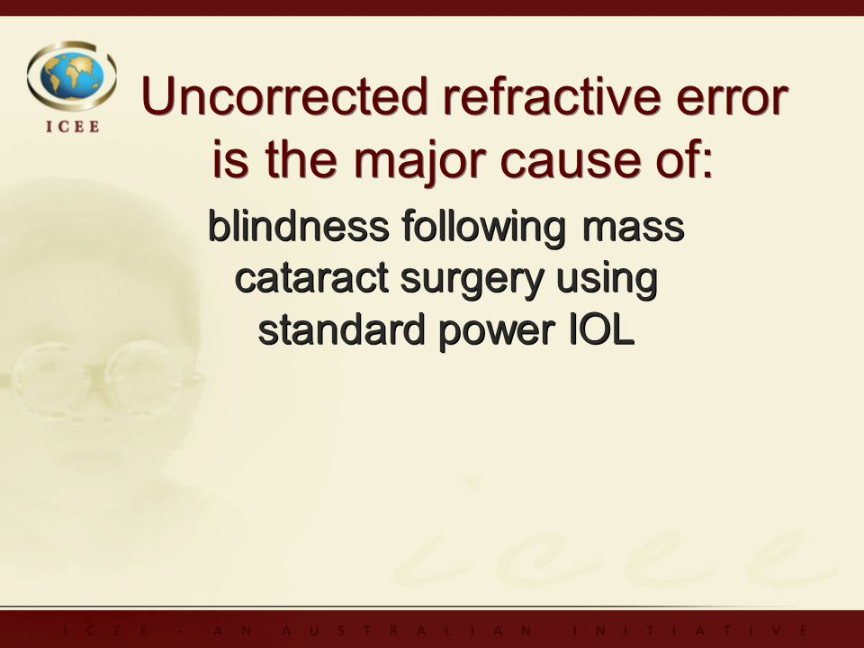 Uncorrected refractive error is the major cause of: blindness following mass cataract surgery using standard power IOL