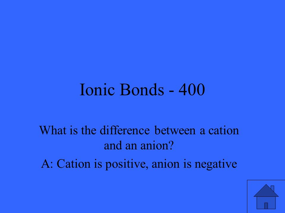 Ionic Bonds - 400 What is the difference between a cation and an anion.
