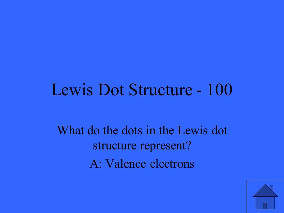 Lewis Dot Structure - 100 What do the dots in the Lewis dot structure represent.