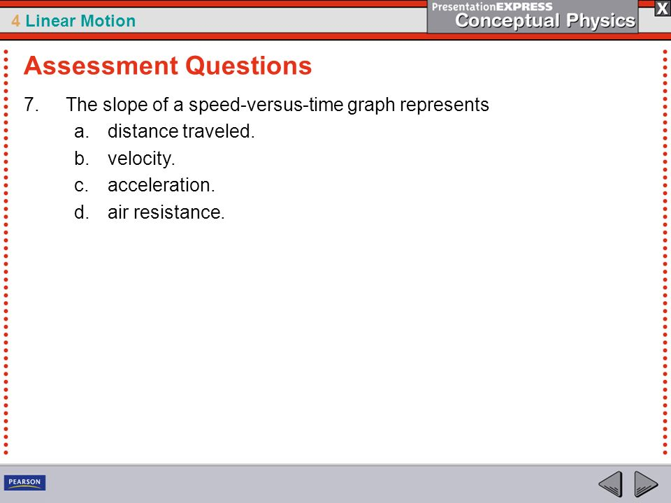 4 Linear Motion 7.The slope of a speed-versus-time graph represents a.distance traveled. b.velocity. c.acceleration. d.air resistance. Assessment Ques