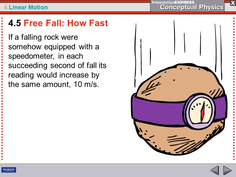 4 Linear Motion If a falling rock were somehow equipped with a speedometer, in each succeeding second of fall its reading would increase by the same a