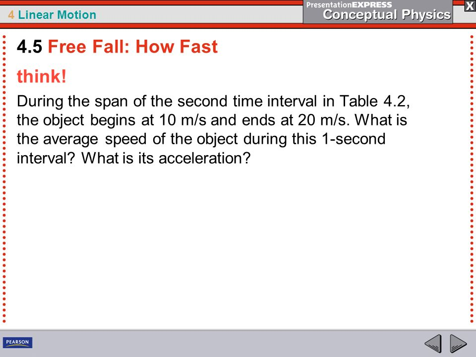 4 Linear Motion think! During the span of the second time interval in Table 4.2, the object begins at 10 m/s and ends at 20 m/s. What is the average s
