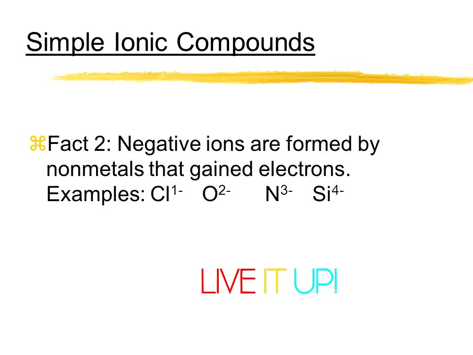 Simple Ionic Compounds zFact 2: Negative ions are formed by nonmetals that gained electrons. Examples: Cl 1- O 2- N 3- Si 4-