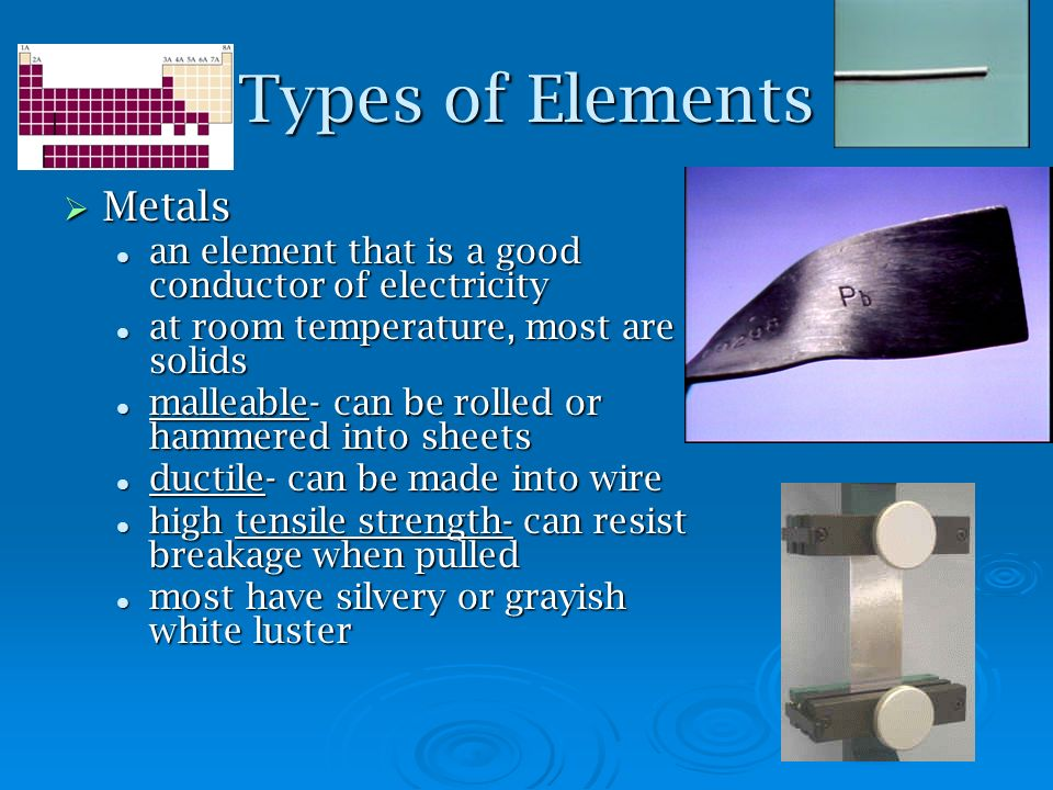 Types of Elements Metals Metals an element that is a good conductor of electricity an element that is a good conductor of electricity at room temperat