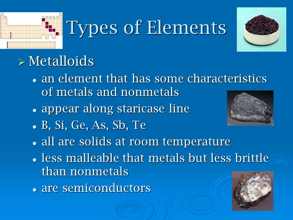 Types of Elements Metalloids Metalloids an element that has some characteristics of metals and nonmetals an element that has some characteristics of m