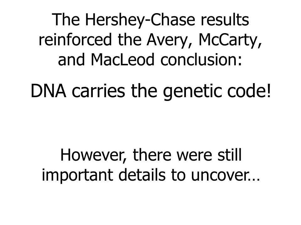The Hershey-Chase results reinforced the Avery, McCarty, and MacLeod conclusion: DNA carries the genetic code! However, there were still important det