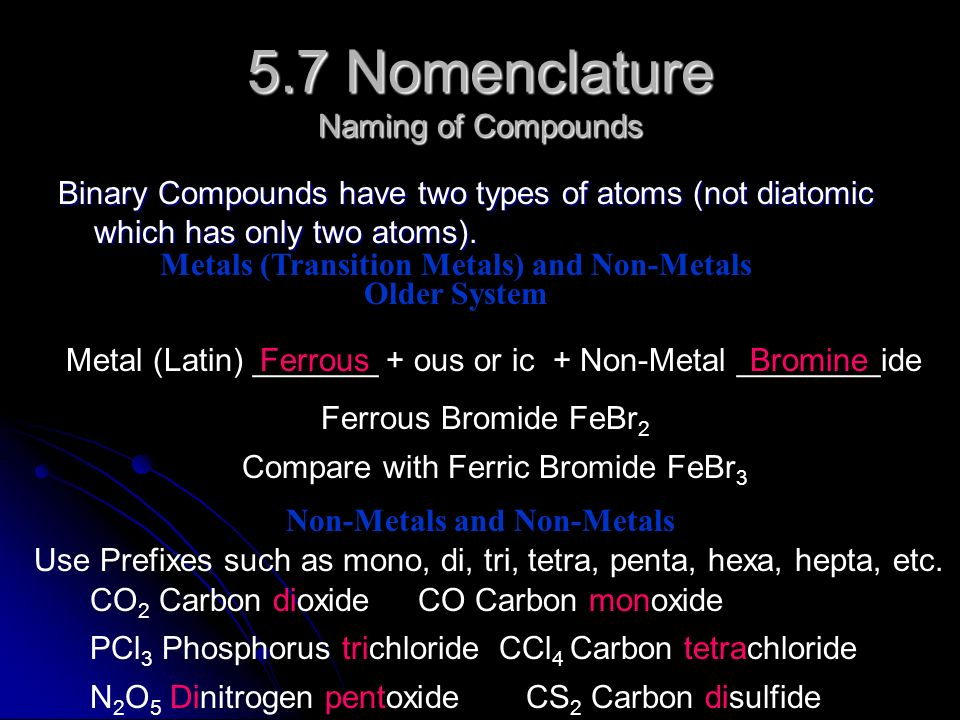 5.7 Nomenclature Naming of Compounds Binary Compounds have two types of atoms (not diatomic which has only two atoms).