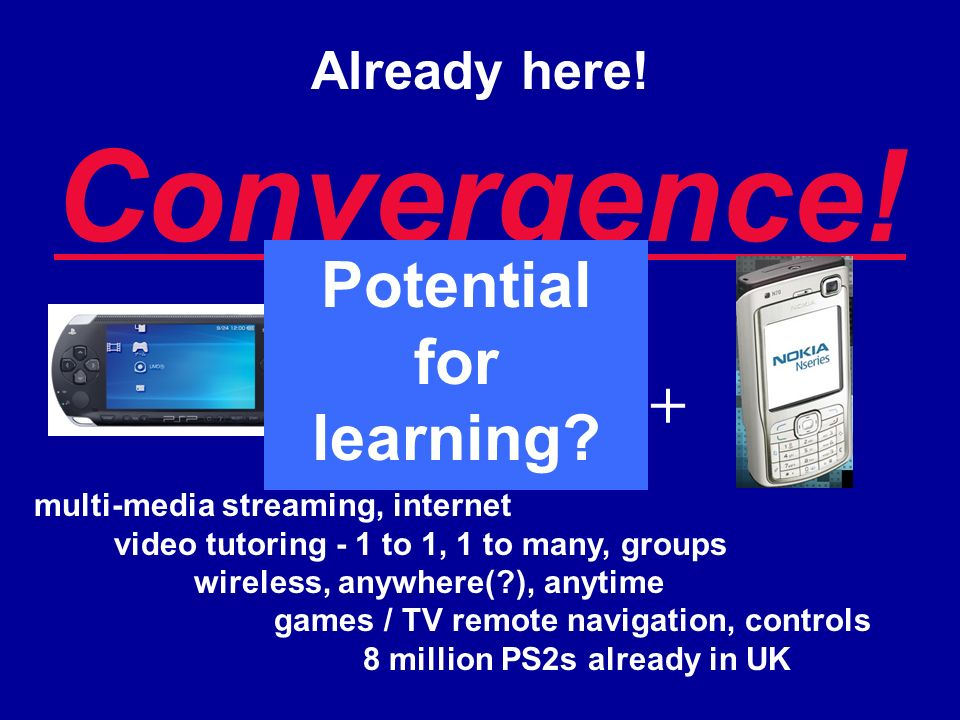 Already here! Convergence! ++ multi-media streaming, internet video tutoring - 1 to 1, 1 to many, groups wireless, anywhere(?), anytime games / TV rem
