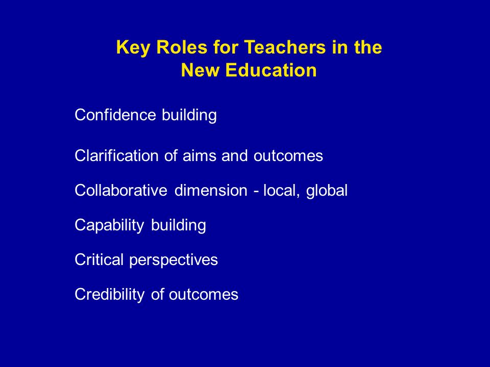 Key Roles for Teachers in the New Education Confidence building Collaborative dimension - local, global Credibility of outcomes Capability building Clarification of aims and outcomes Critical perspectives