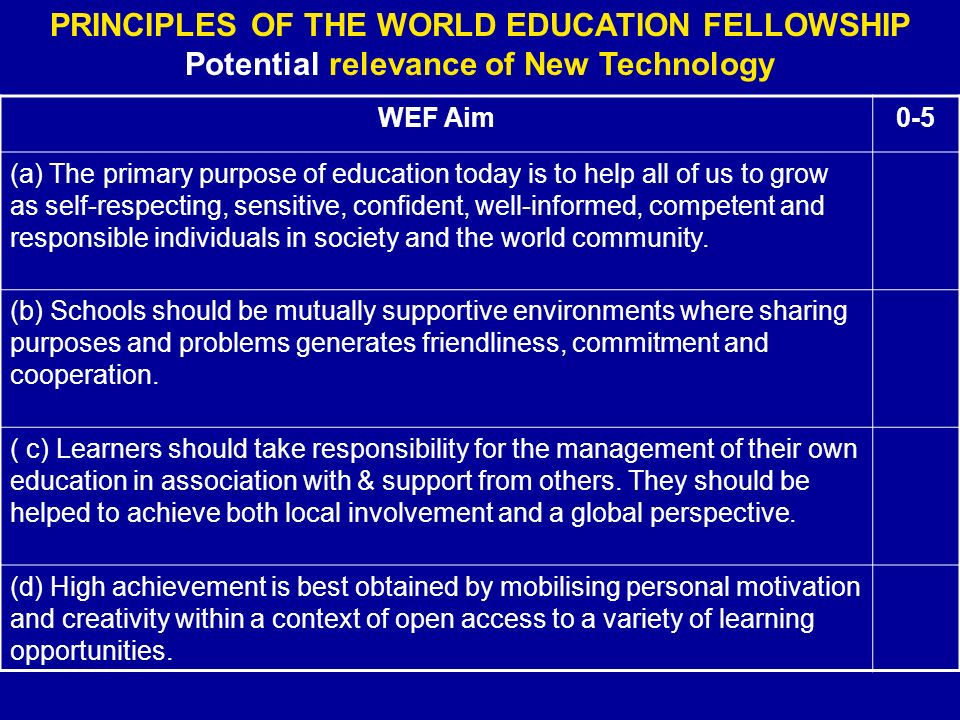PRINCIPLES OF THE WORLD EDUCATION FELLOWSHIP Potential relevance of New Technology WEF Aim0-5 (a) The primary purpose of education today is to help all of us to grow as self-respecting, sensitive, confident, well-informed, competent and responsible individuals in society and the world community.