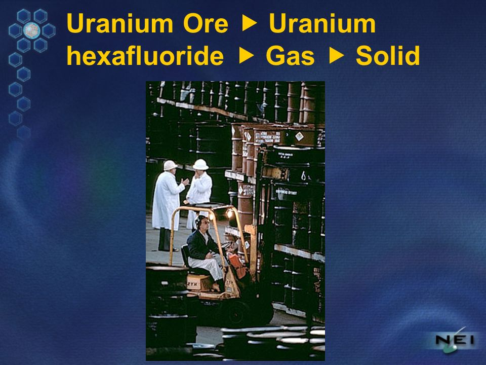 Uranium Ore Uranium hexafluoride Gas Solid