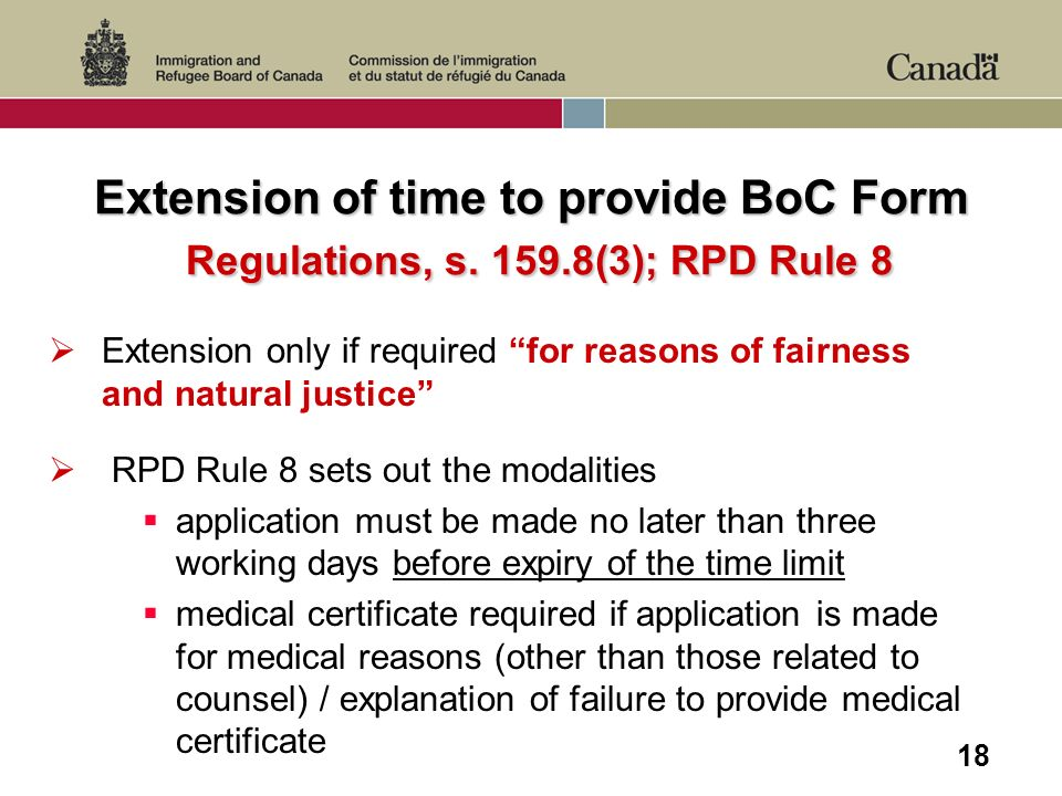 18 Extension of time to provide BoC Form Regulations, s.