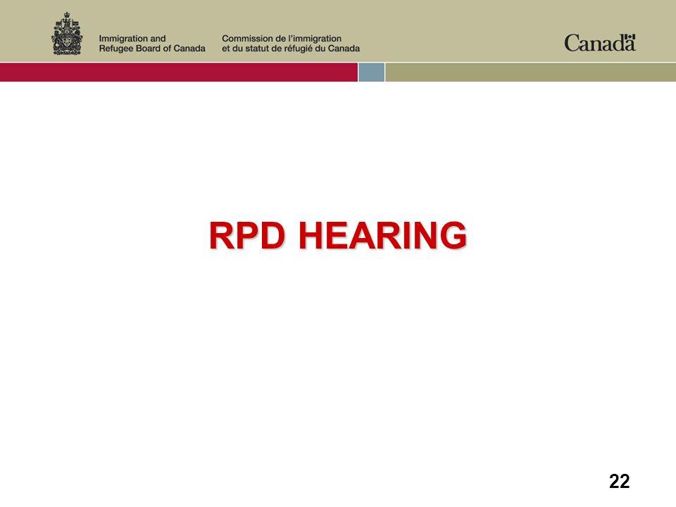 22 RPD HEARING