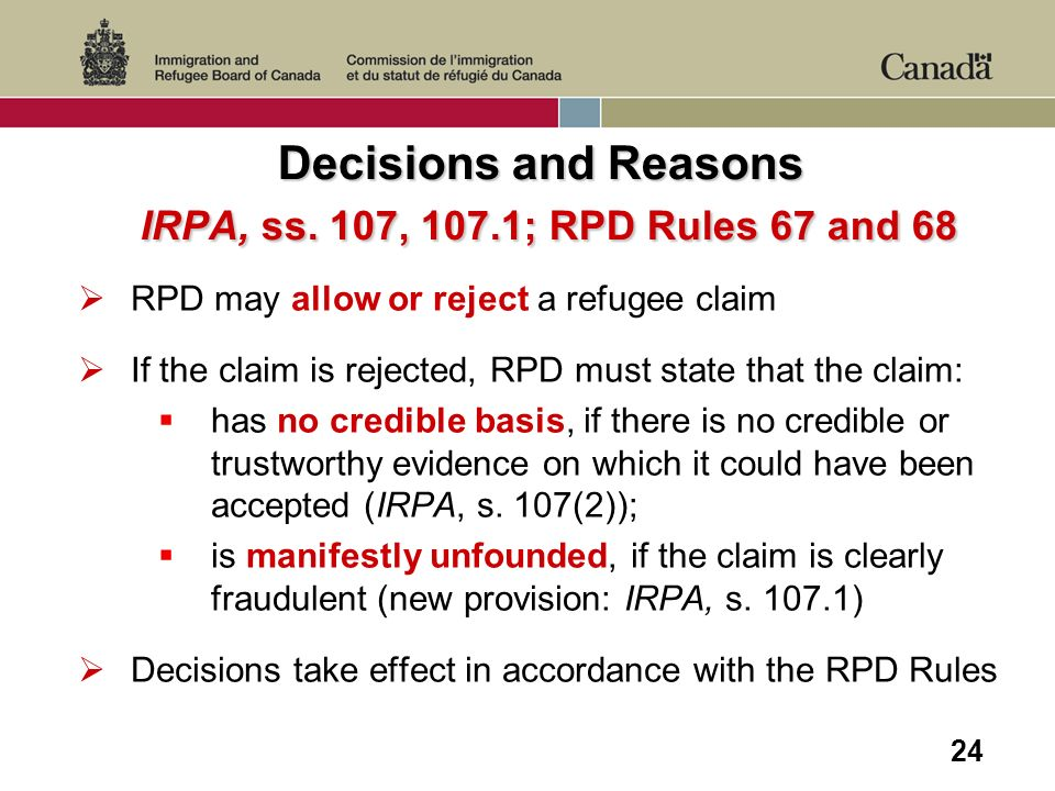 24 Decisions and Reasons IRPA, ss.