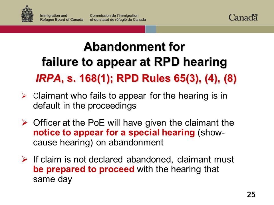 25 Abandonment for failure to appear at RPD hearing IRPA, s.