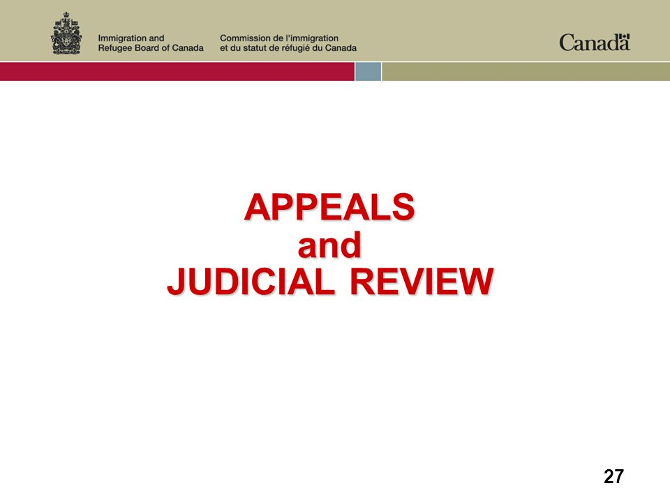27 APPEALS and JUDICIAL REVIEW