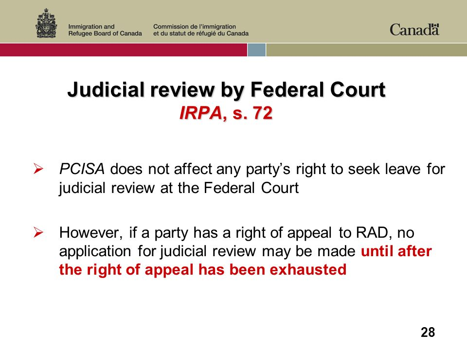 28 Judicial review by Federal Court IRPA, s.